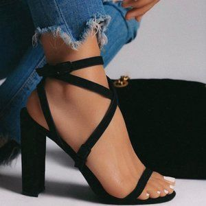 Strappy Faux Suede Block Heels in Black